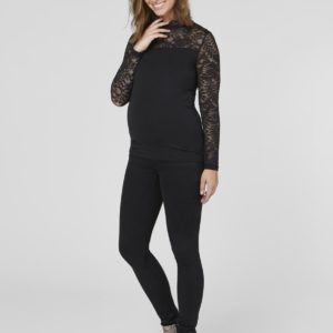 Black Jersey Maternity Lace Top - 10